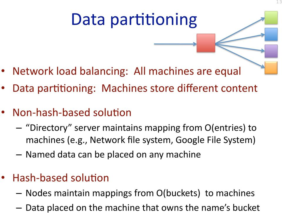 (e.g., Network file system, Google File System) Named data can be placed on any machine Hash based