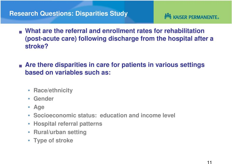 Are there disparities in care for patients in various settings based on variables such as: