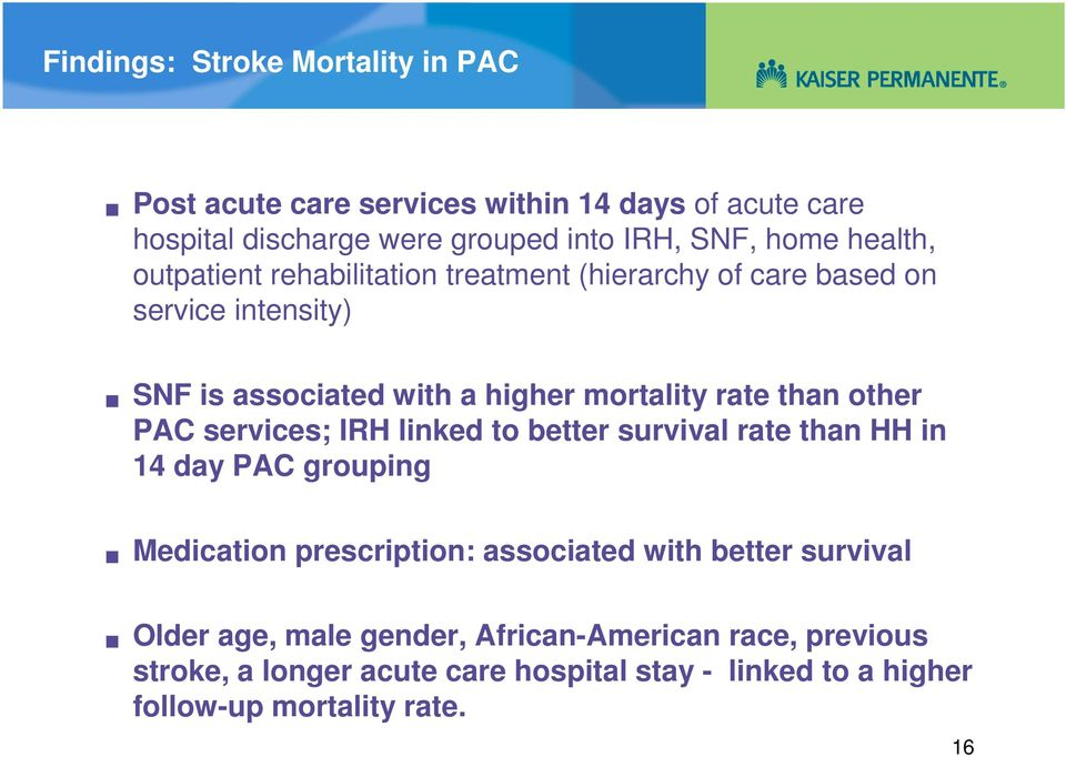 other PAC services; IRH linked to better survival rate than HH in 14 day PAC grouping Medication prescription: associated with better survival