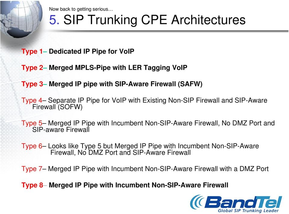 (SAFW) Type 4 Separate IP Pipe for VoIP with Existing Non-SIP Firewall and SIP-Aware Firewall (SOFW) Type 5 Merged IP Pipe with Incumbent Non-SIP-Aware