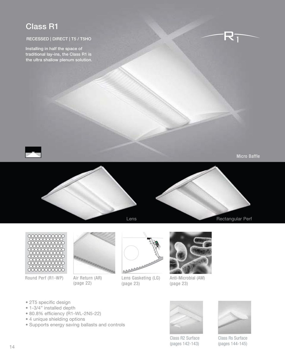 Micro Baffle Lens Rectangular Perf Round Perf (R1-WP) Air Return (AR) (page 22) Lens Gasketing (LG) (page 23)