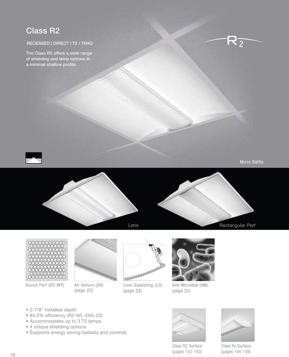 Micro Baffle Lens Rectangular Perf Round Perf (R2-WP) Air Return (AR) (page 22) Lens Gasketing (LG) (page 23)