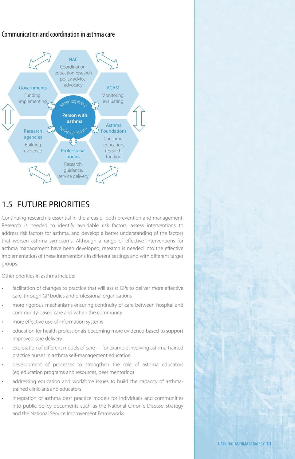 5 Future priorities Continuing research is essential in the areas of both prevention and management.