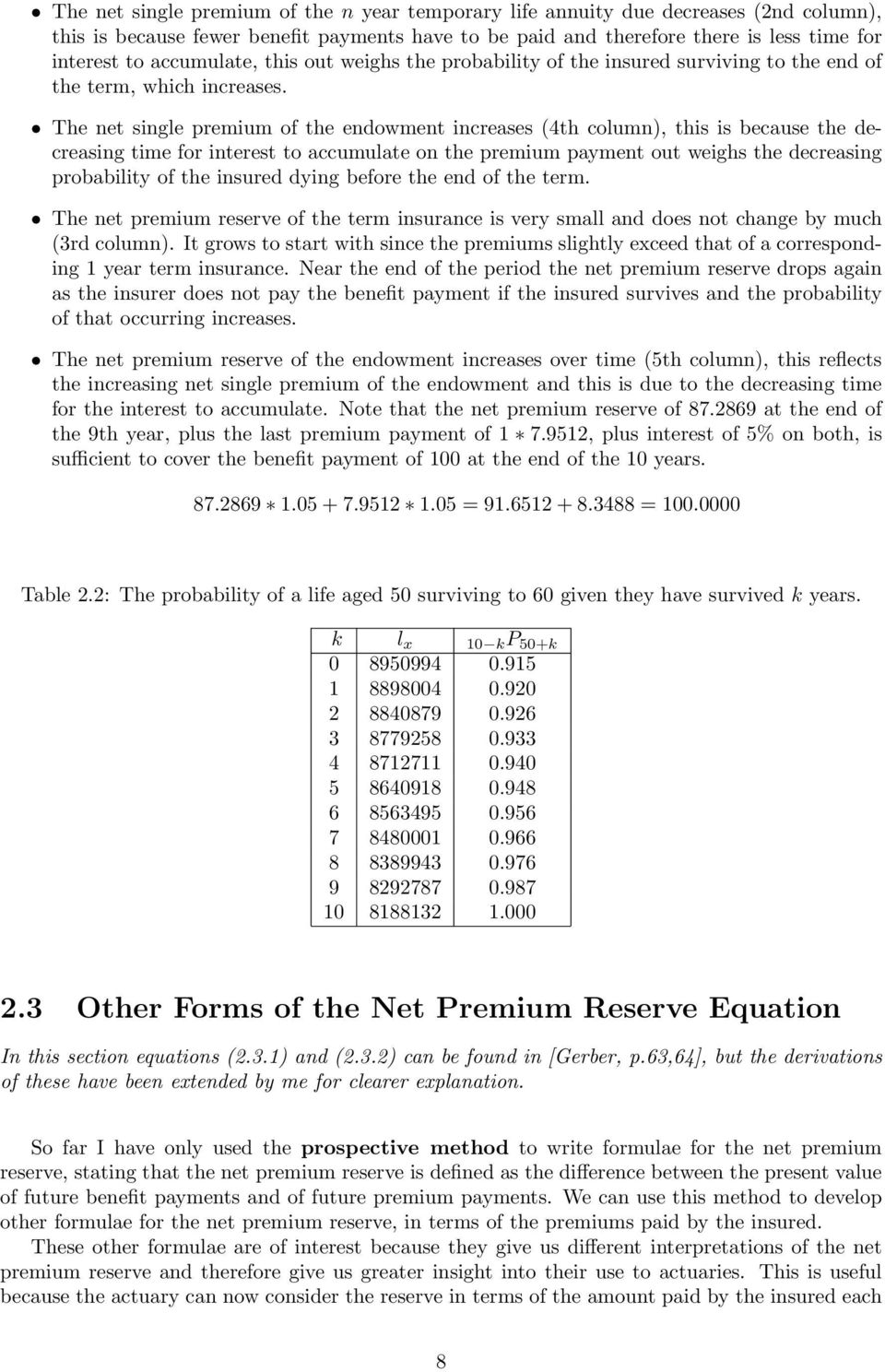 The net single premium of the endowment increases (4th column), this is because the decreasing time for interest to accumulate on the premium payment out weighs the decreasing probability of the