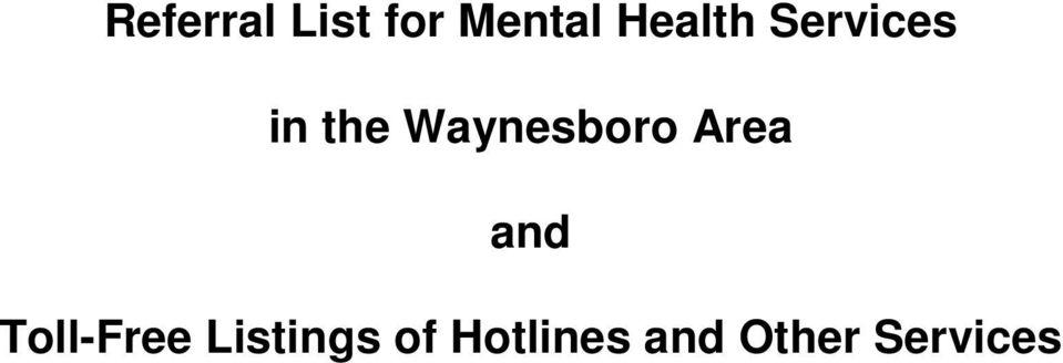 Waynesboro Area and Toll-Free