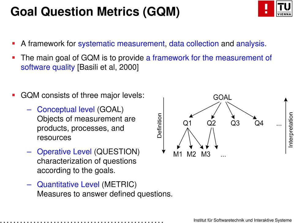 consists of three major levels: Conceptual level (GOAL) Objects of measurement are products, processes, and resources
