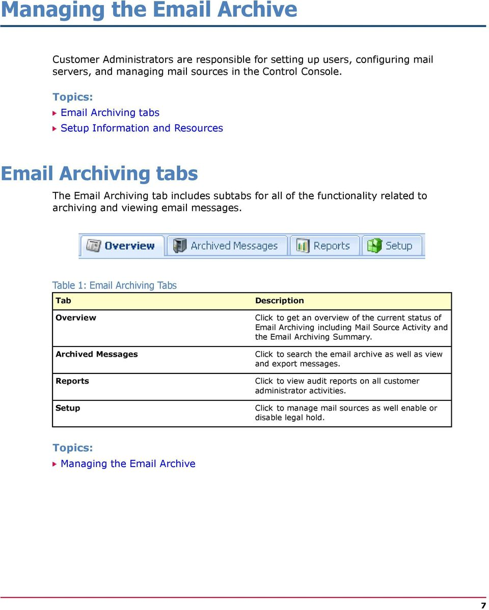 Table 1: Email Archiving Tabs Tab Overview Archived Messages Reports Setup Description Click to get an overview of the current status of Email Archiving including Mail Source Activity and the Email