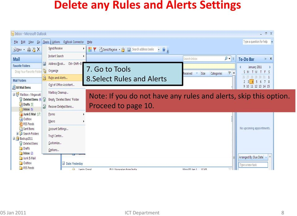 Select Rules and Alerts Note: If you do