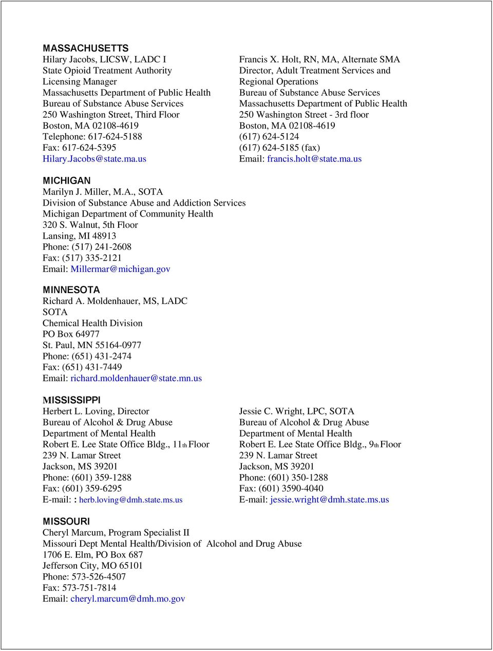 State Opioid Treatment Authorities Contact Information June Pdf