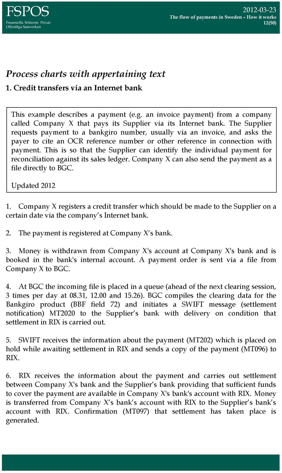 This is so that the Supplier can identify the individual payment for reconciliation against its sales ledger. Company X can also send the payment as a file directly to BGC. Updated 2012 1.