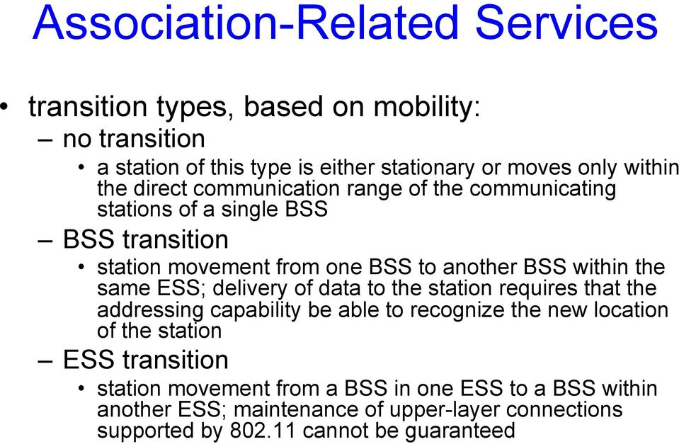 same ESS; delivery of data to the station requires that the addressing capability be able to recognize the new location of the station ESS