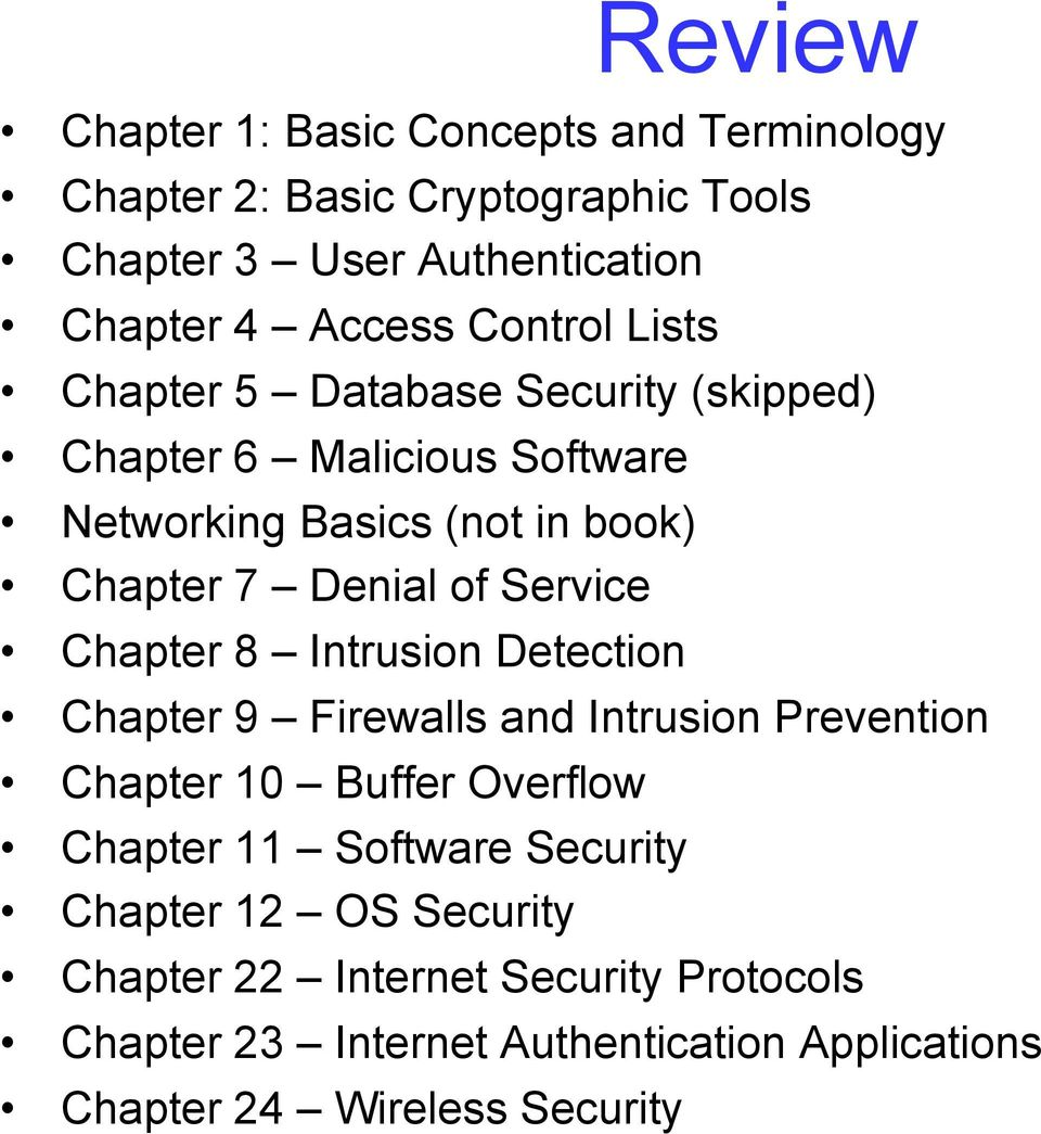 Service Chapter 8 Intrusion Detection Chapter 9 Firewalls and Intrusion Prevention Chapter 10 Buffer Overflow Chapter 11 Software