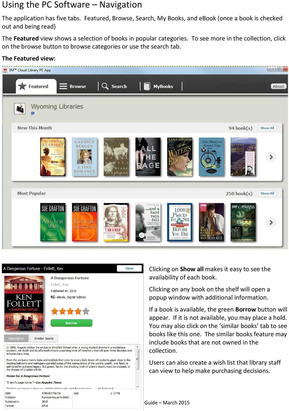 To see more in the collection, click on the browse button to browse categories or use the search tab. The Featured view: Clicking on Show all makes it easy to see the availability of each book.