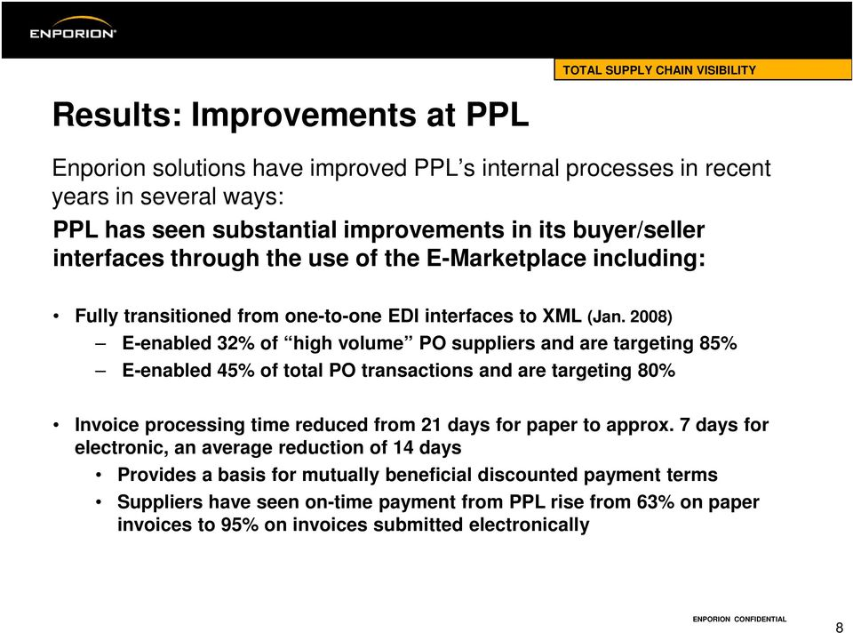2008) E-enabled 32% of high volume PO suppliers and are targeting 85% E-enabled 45% of total PO transactions and are targeting 80% Invoice processing time reduced from 21 days for