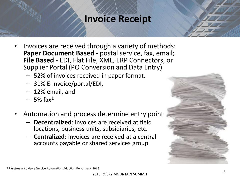 and 5% fax 1 Automation and process determine entry point Decentralized: invoices are received at field locations, business units, subsidiaries, etc.