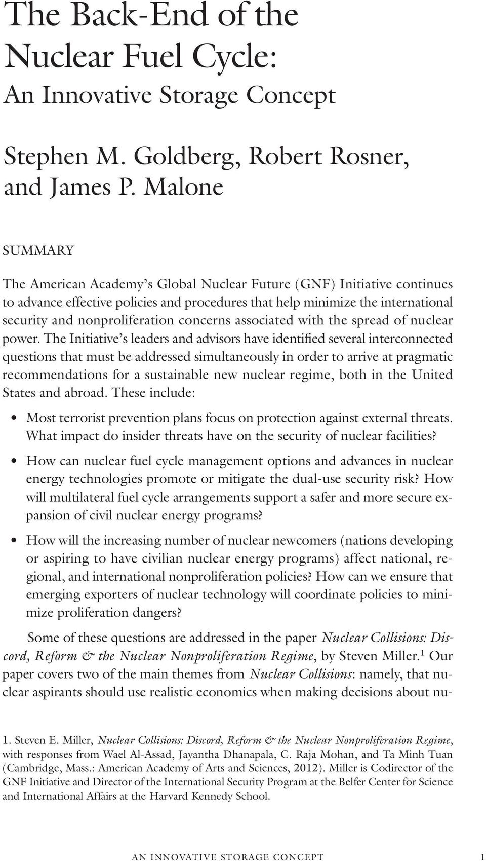concerns associated with the spread of nuclear power.