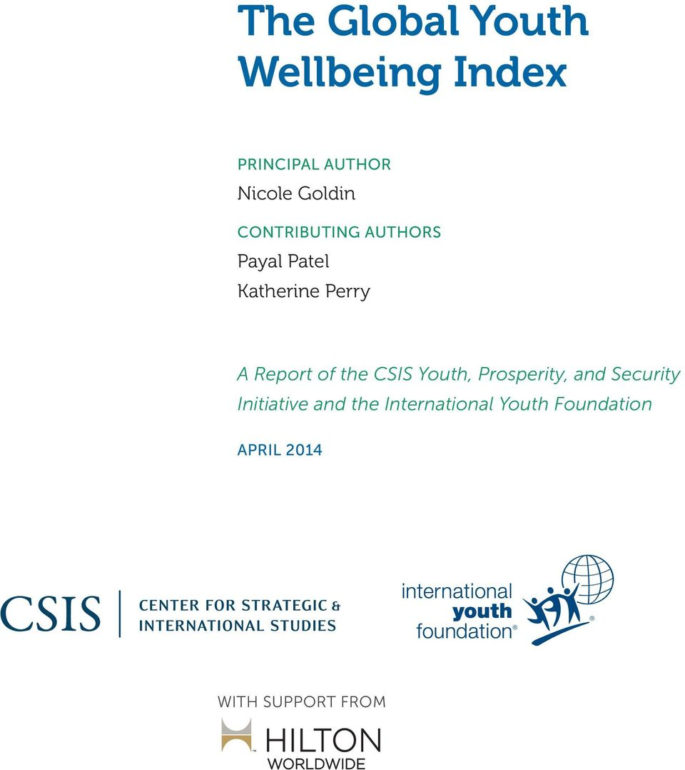 Report of the CSIS Youth, Prosperity, and Security