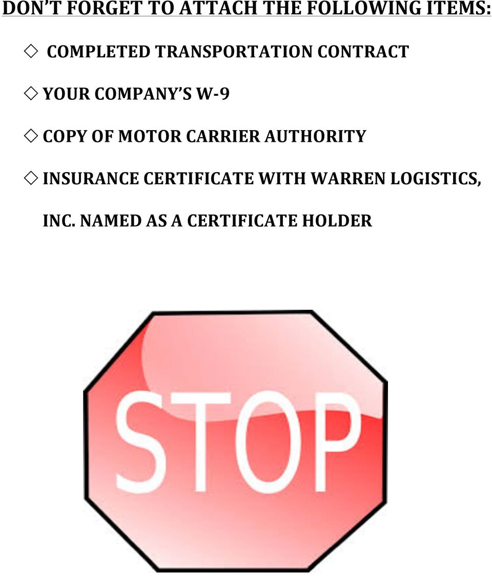 Billing and company information pdf for Motor carrier service inc