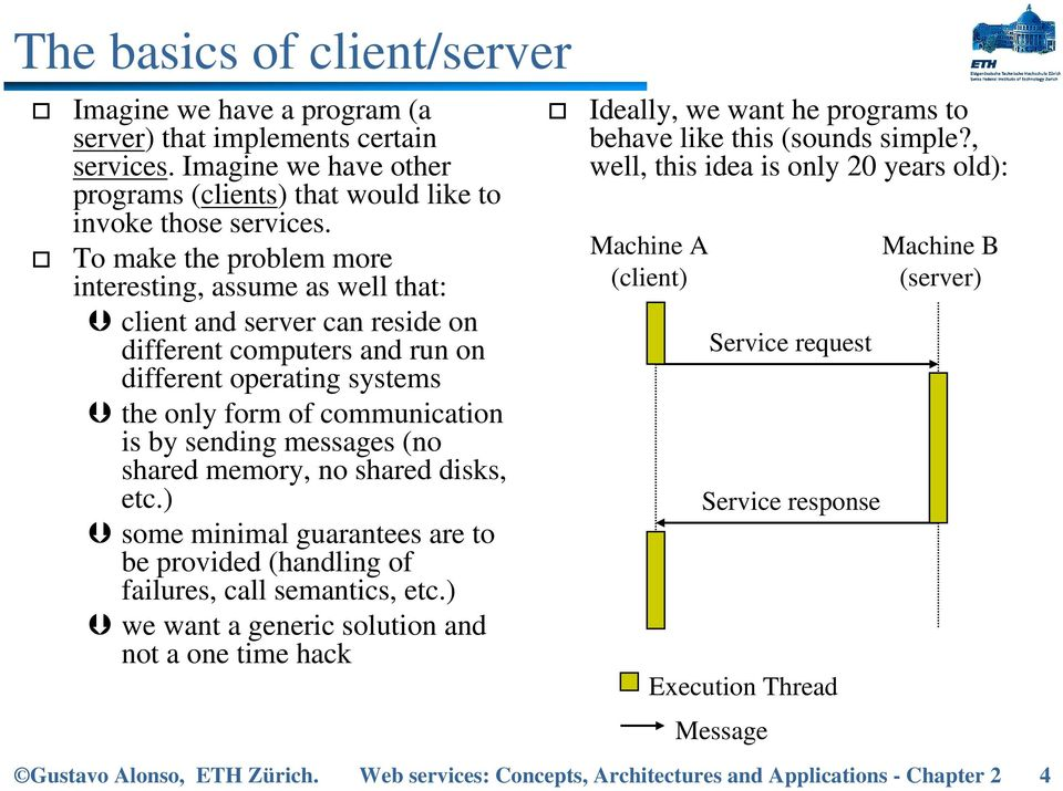 messages (no shared memory, no shared disks, etc.) some minimal guarantees are to be provided (handling of failures, call semantics, etc.