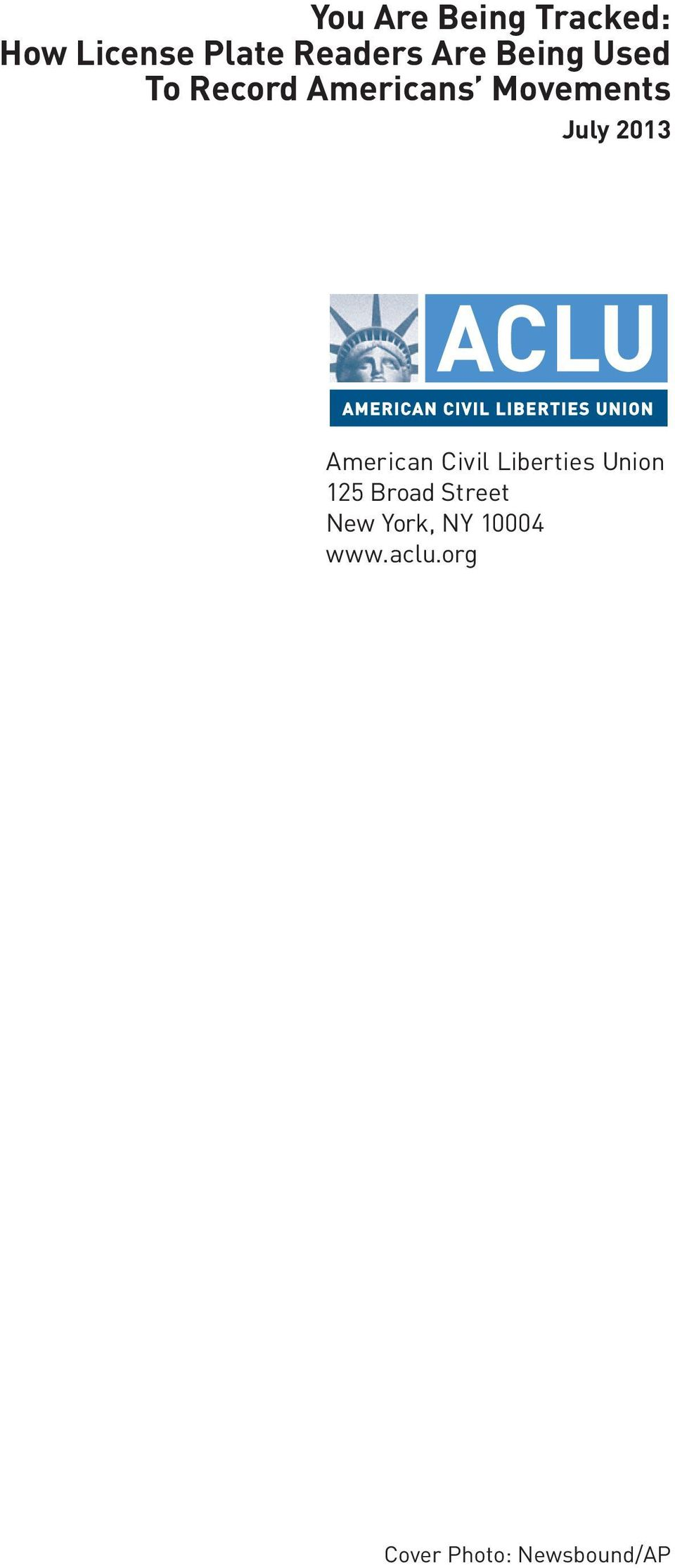 American Civil Liberties Union 125 Broad Street New