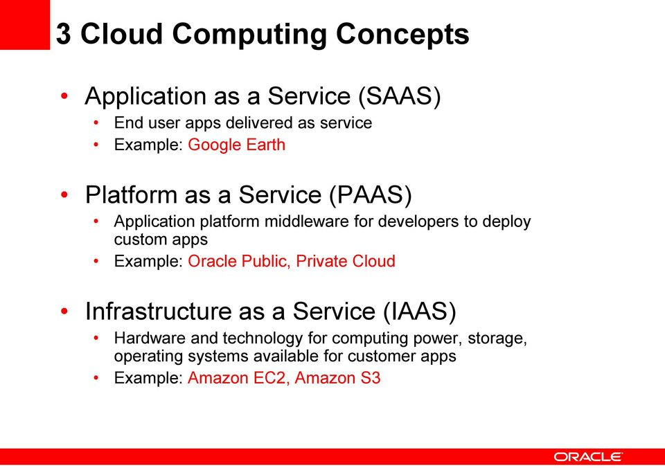 custom apps Example: Oracle Public, Private Cloud Infrastructure as a Service (IAAS) Hardware and