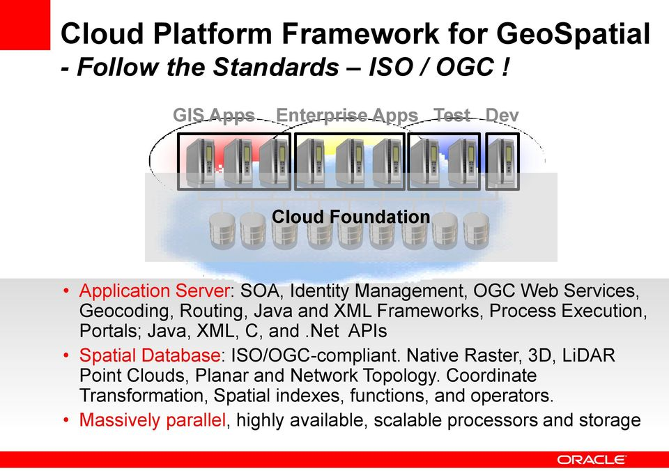 Routing, Java and XML Frameworks, Process Execution, Portals; Java, XML, C, and.net APIs Spatial Database: ISO/OGC-compliant.