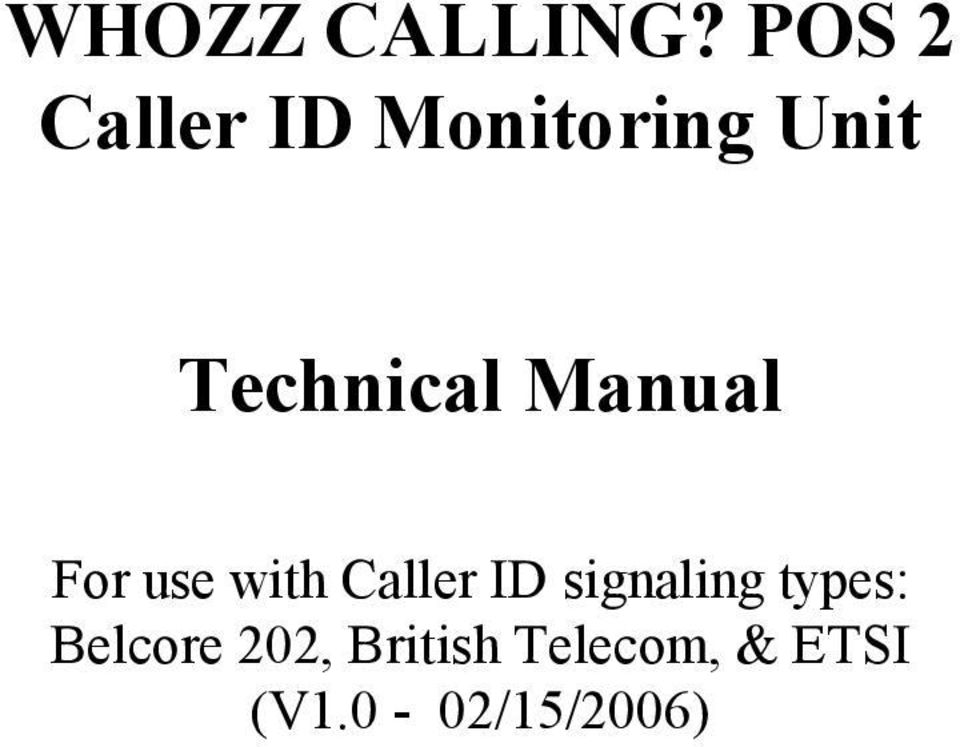 Technical Manual For use with Caller ID