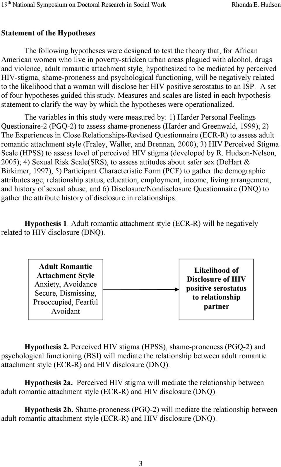 woman will disclose her HIV positive serostatus to an ISP. A set of four hypotheses guided this study.