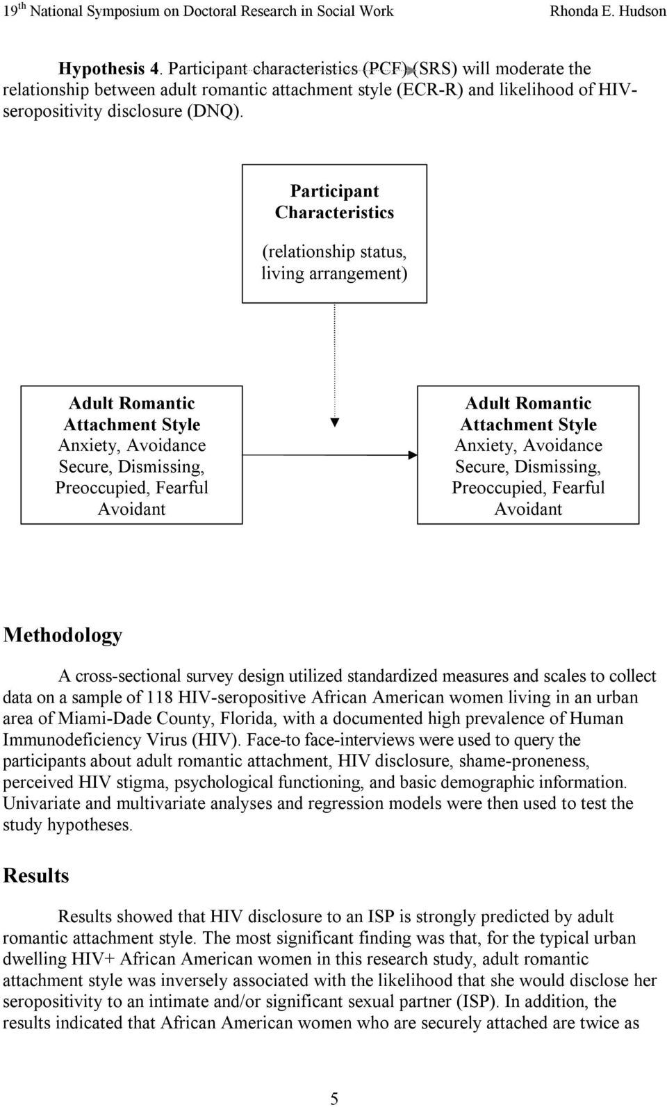 Style Anxiety, Avoidance Secure, Dismissing, Preoccupied, Fearful Avoidant Methodology A cross sectional survey design utilized standardized measures and scales to collect data on a sample of 118 HIV