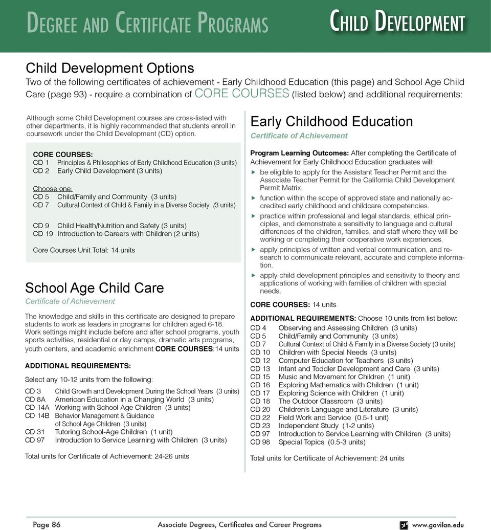 CORE COURSES: CD 1 Principles & Philosophies of Early Childhood Education CD 2 Early CD 5 Child/Family and Community CD 7 Cultural Context of Child & Family in a Diverse Society CD 9 Child