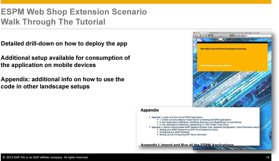 application on mobile devices Appendix: additional info on how to use the code
