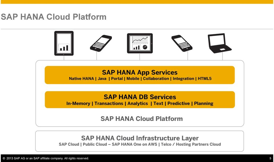SAP HANA Cloud Platform SAP HANA Cloud Infrastructure Layer SAP Cloud Public Cloud SAP HANA One