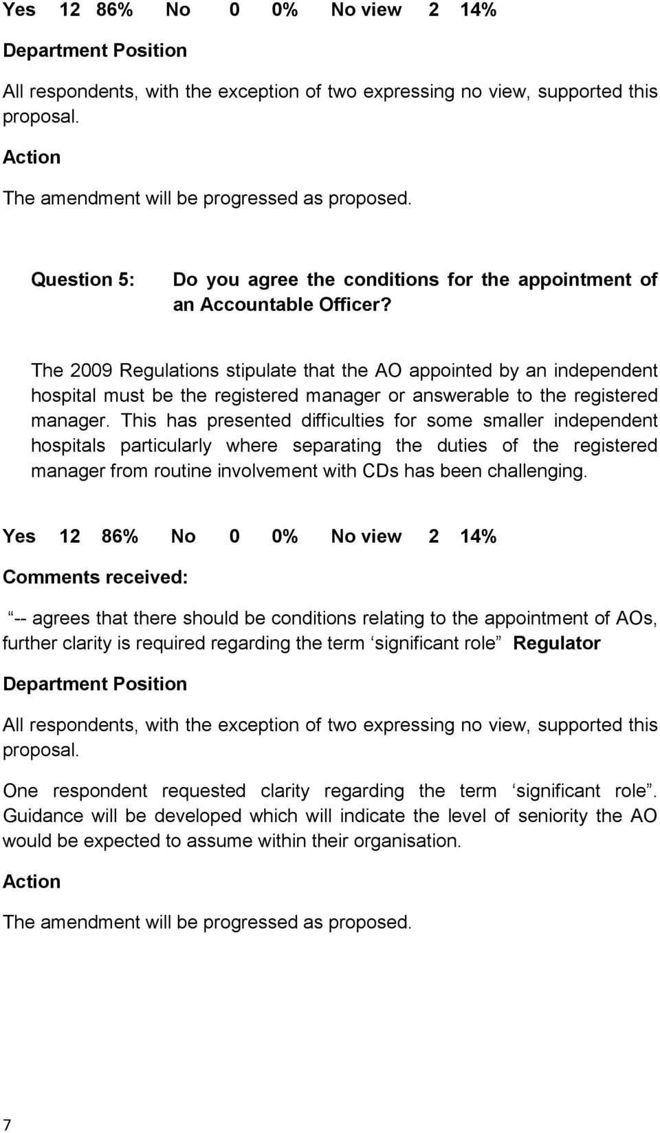 The 2009 Regulations stipulate that the AO appointed by an independent hospital must be the registered manager or answerable to the registered manager.