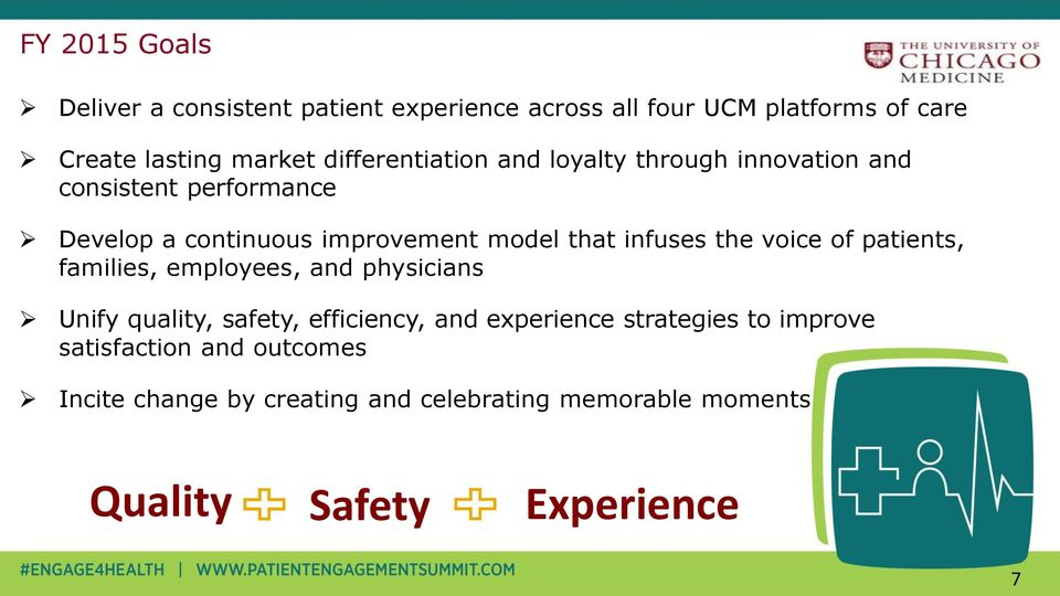 infuses the voice of patients, families, employees, and physicians Unify quality, safety, efficiency, and experience