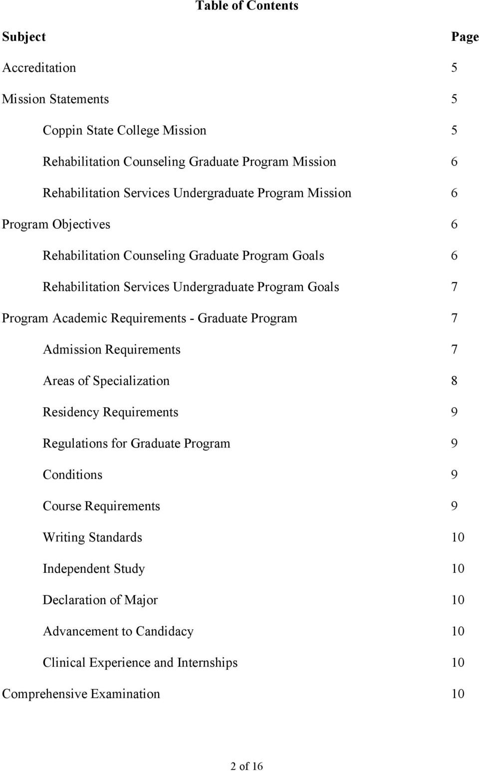 Academic Requirements - Graduate Program 7 Admission Requirements 7 Areas of Specialization 8 Residency Requirements 9 Regulations for Graduate Program 9 Conditions 9 Course