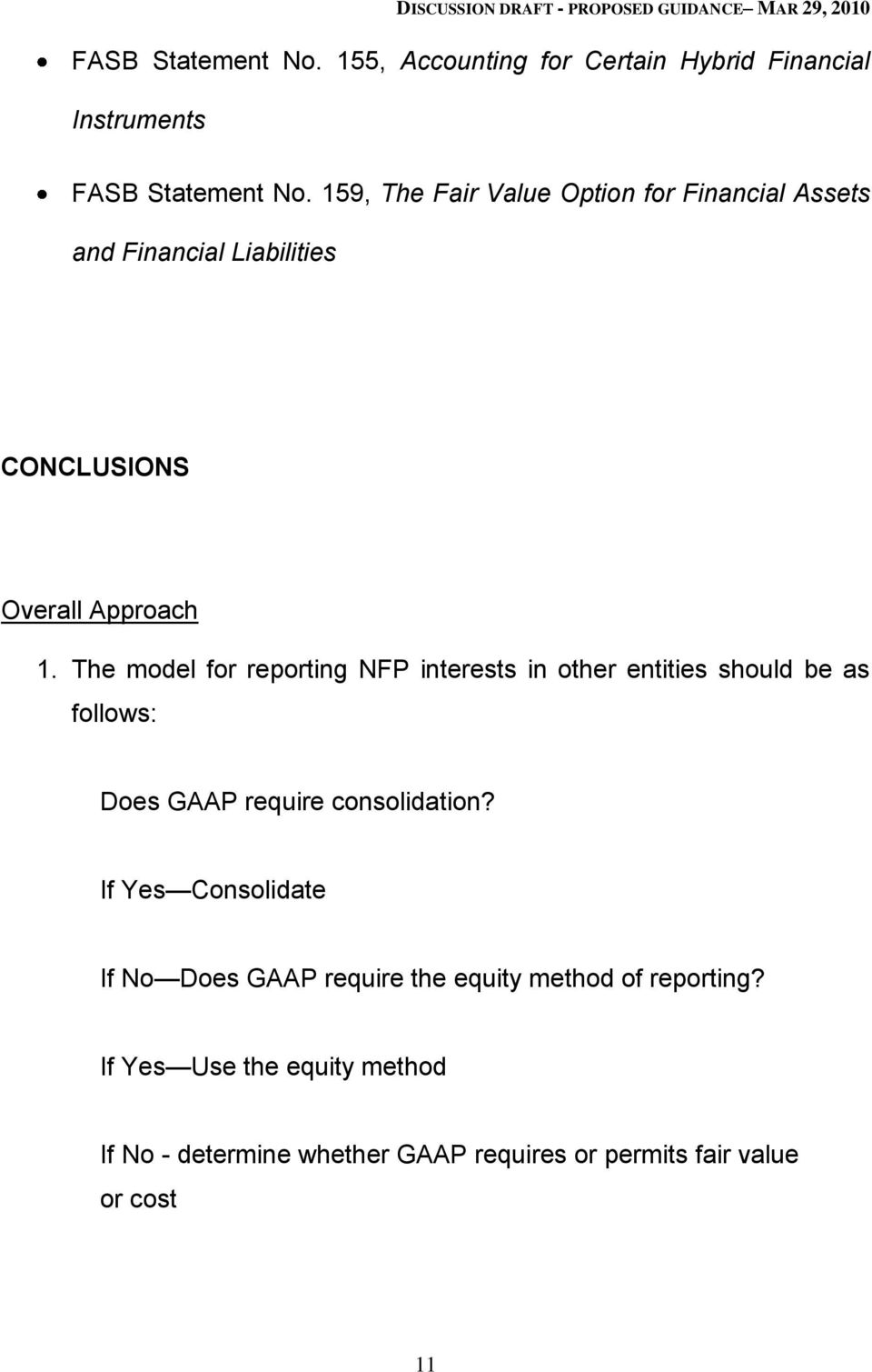 The model for reporting NFP interests in other entities should be as follows: Does GAAP require consolidation?