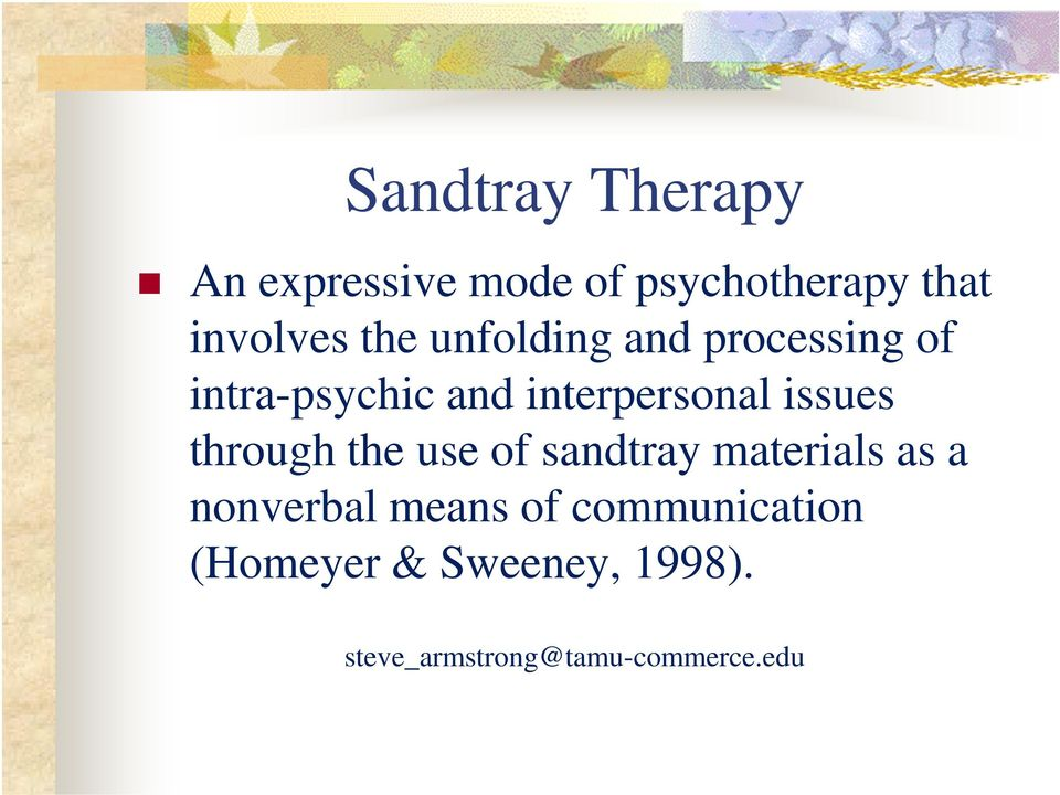 interpersonal issues through the use of sandtray materials