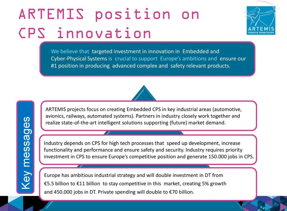 ARTEMIS projects focus on creating Embedded CPS in key industrial areas (automotive, avionics, railways, automated systems).