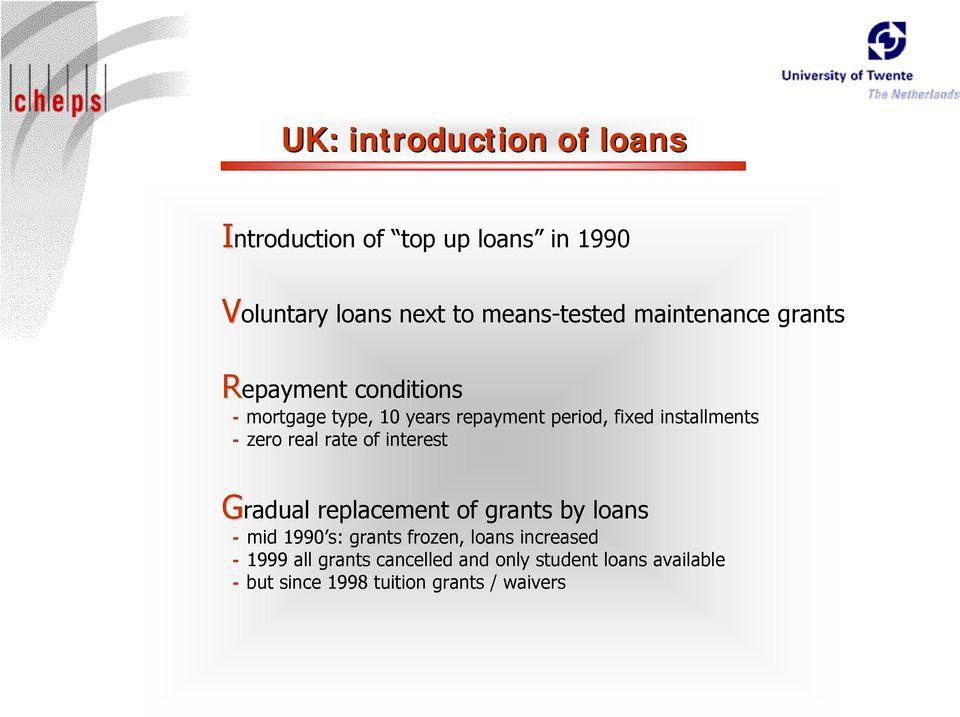 zero real rate of interest Gradual replacement of grants by loans - mid 1990 s: grants frozen, loans