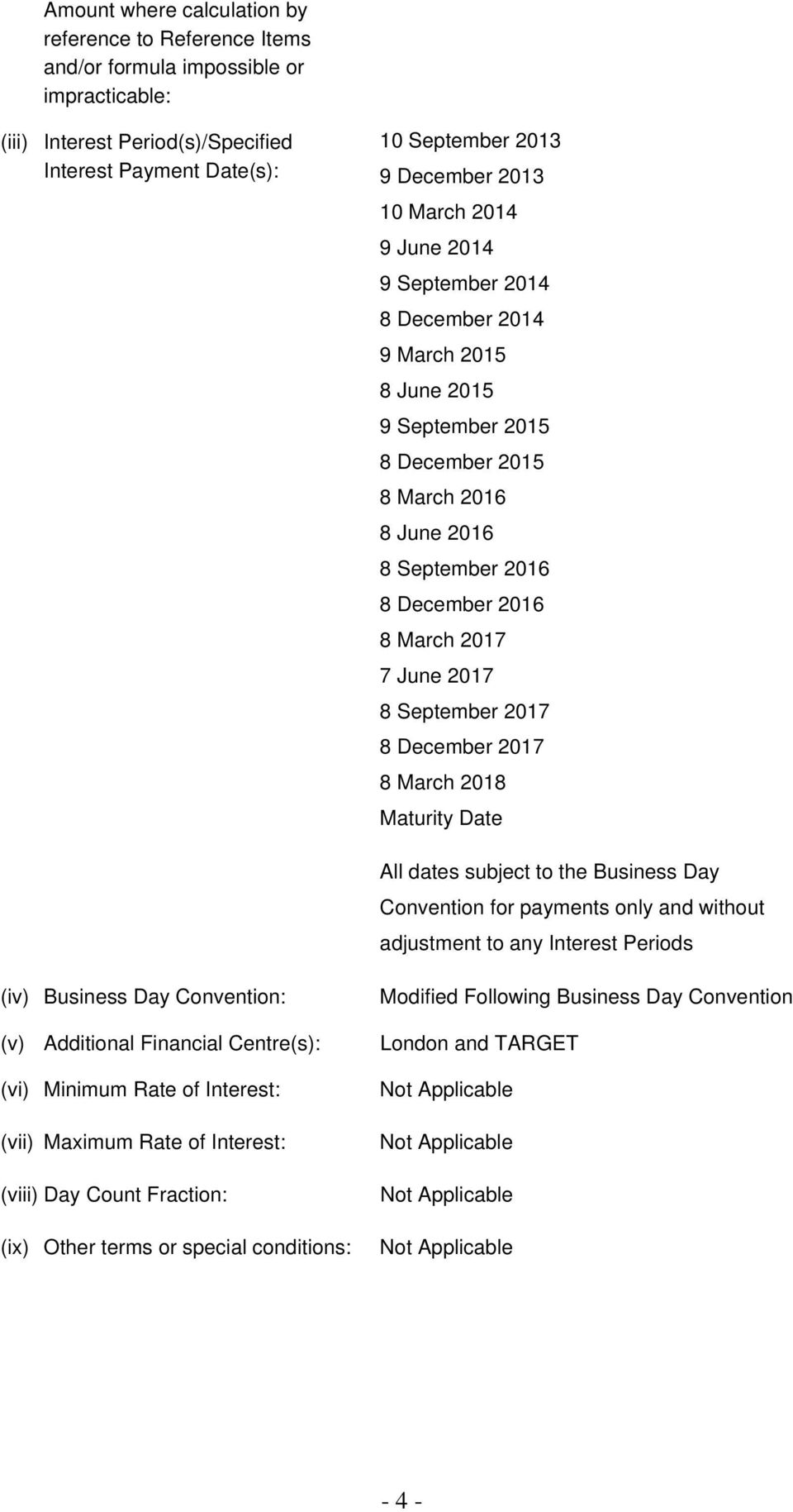 September 2017 8 December 2017 8 March 2018 Maturity Date All dates subject to the Business Day Convention for payments only and without adjustment to any Interest Periods (iv) Business Day