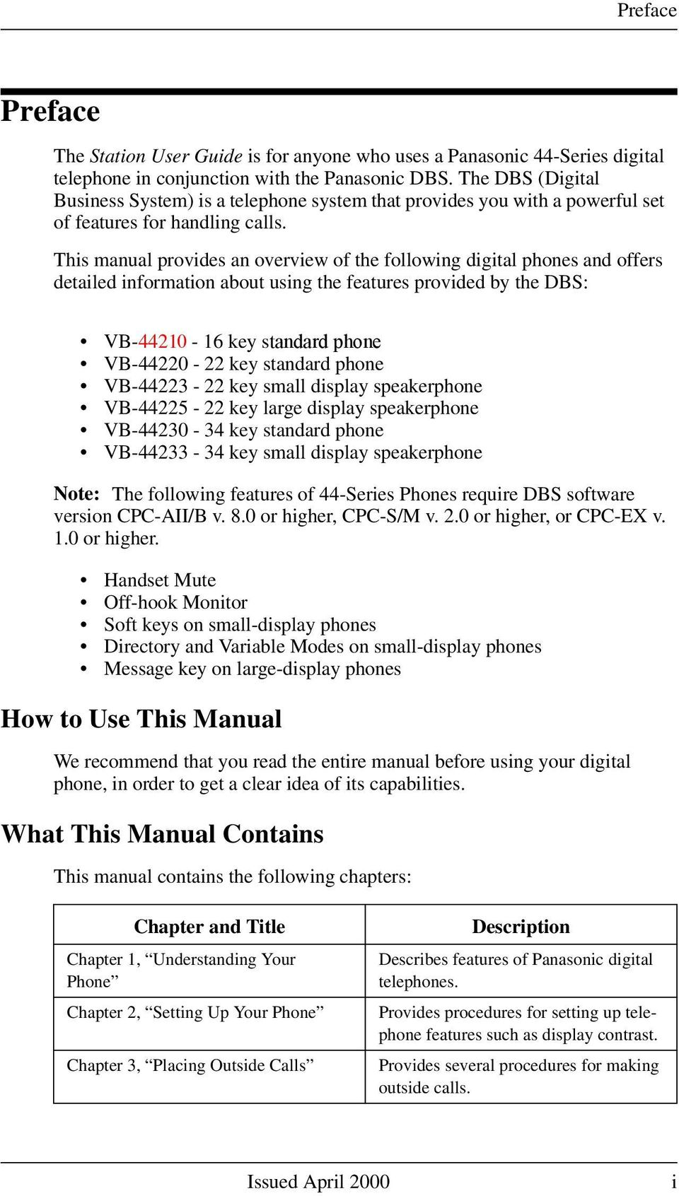 This manual provides an overview of the following digital phones and offers detailed information about using the features provided by the DBS: VB-44210-16 key standard phone VB-44220-22 key standard