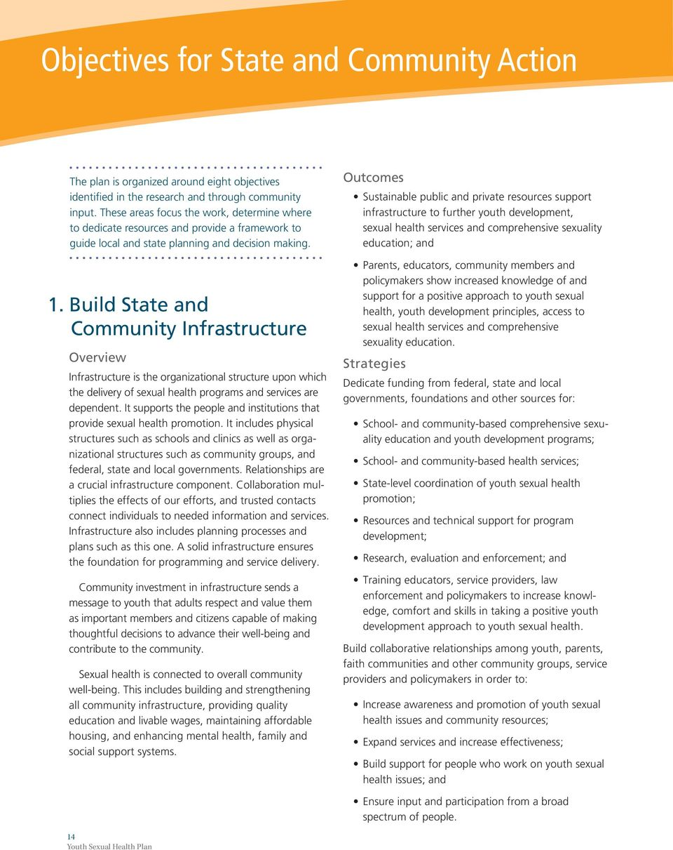 Build State and Community Infrastructure Overview Infrastructure is the organizational structure upon which the delivery of sexual health programs and services are dependent.
