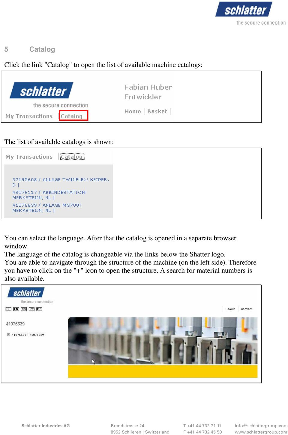 The language of the catalog is changeable via the links below the Shatter logo.