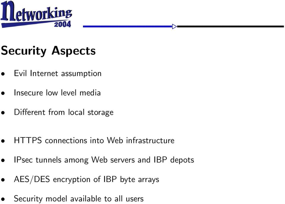 infrastructure IPsec tunnels among Web servers and IBP depots