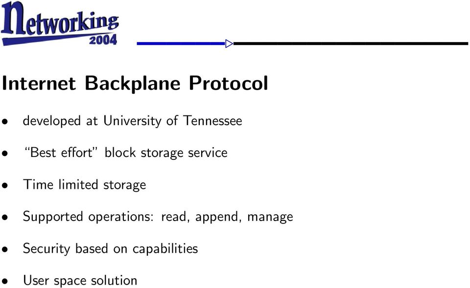 limited storage Supported operations: read, append,