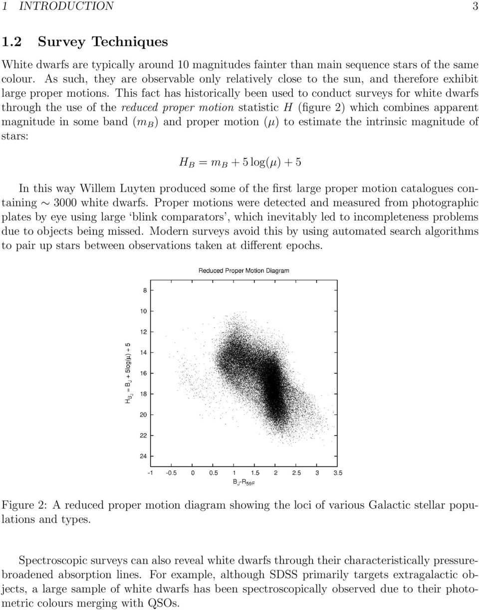 This fact has historically been used to conduct surveys for white dwarfs through the use of the reduced proper motion statistic H (figure 2) which combines apparent magnitude in some band (m B ) and