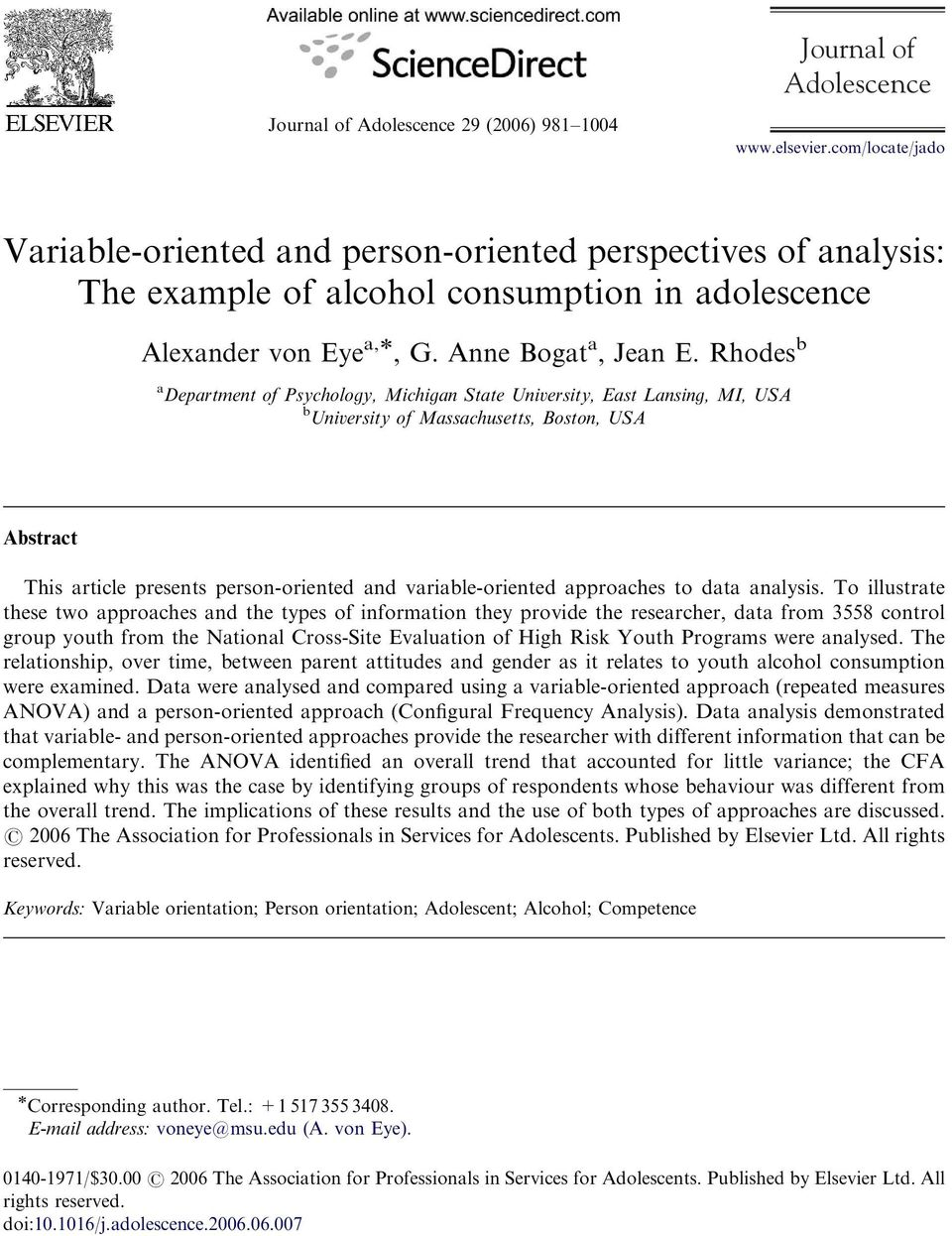 Rhodes b a Department of Psychology, Michigan State University, East Lansing, MI, USA b University of Massachusetts, Boston, USA Abstract This article presents person-oriented and variable-oriented