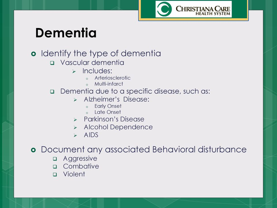 Alzheimer s Disease: o o Early Onset Late Onset Parkinson s Disease Alcohol