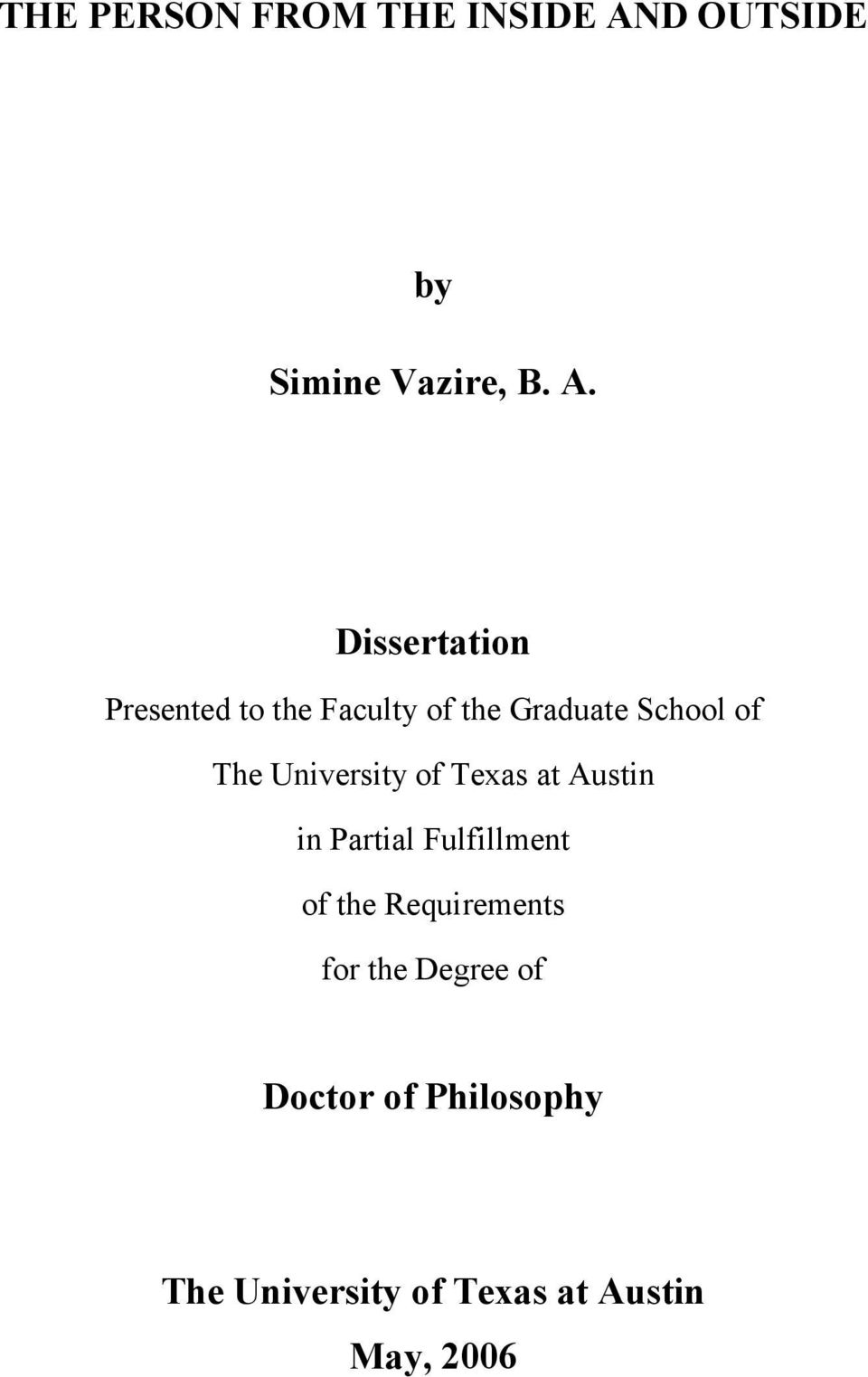 Dissertation Presented to the Faculty of the Graduate School of The
