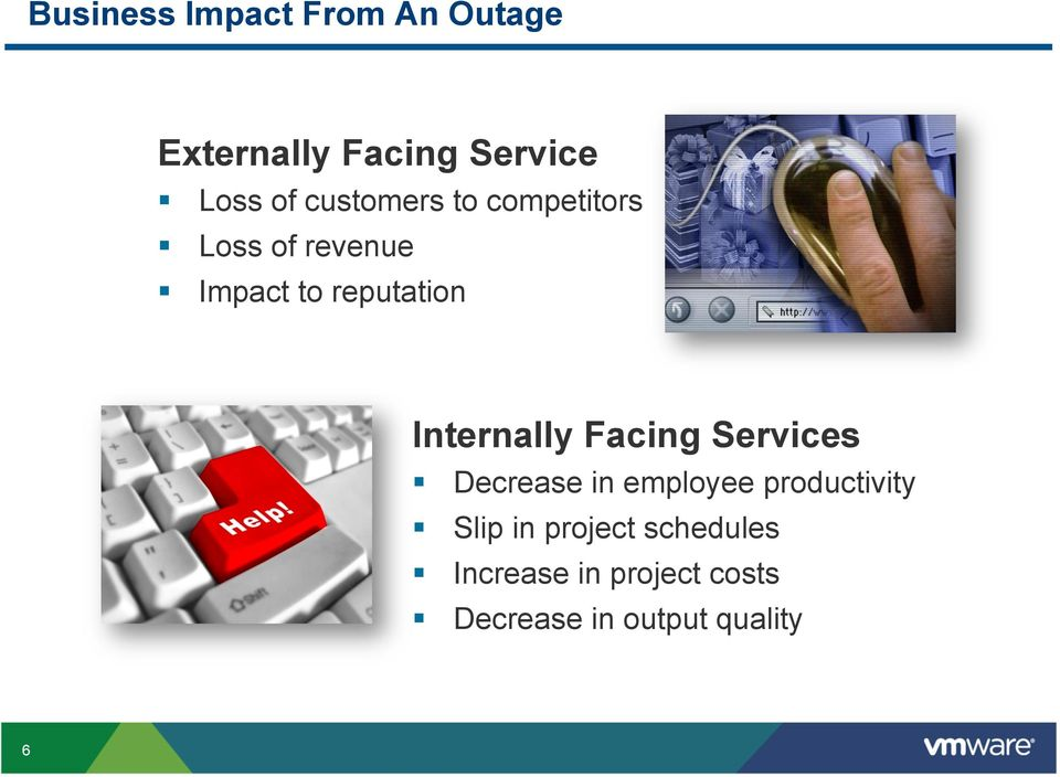 Internally Facing Services Decrease in employee productivity Slip
